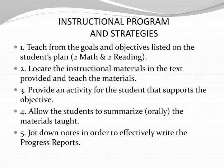 INSTRUCTIONAL PROGRAM