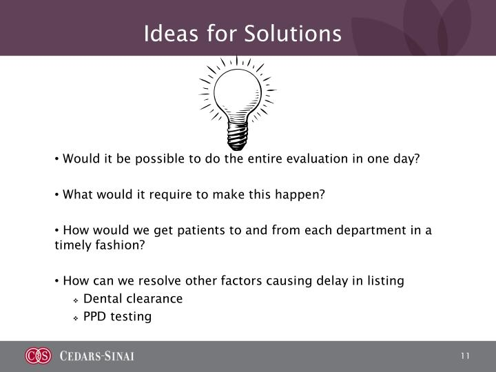 Ideas for Solutions