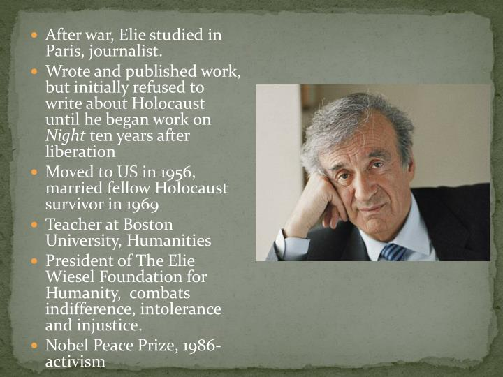 After war, Elie studied in Paris, journalist.