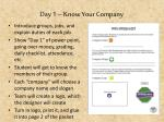 day 1 know your company1