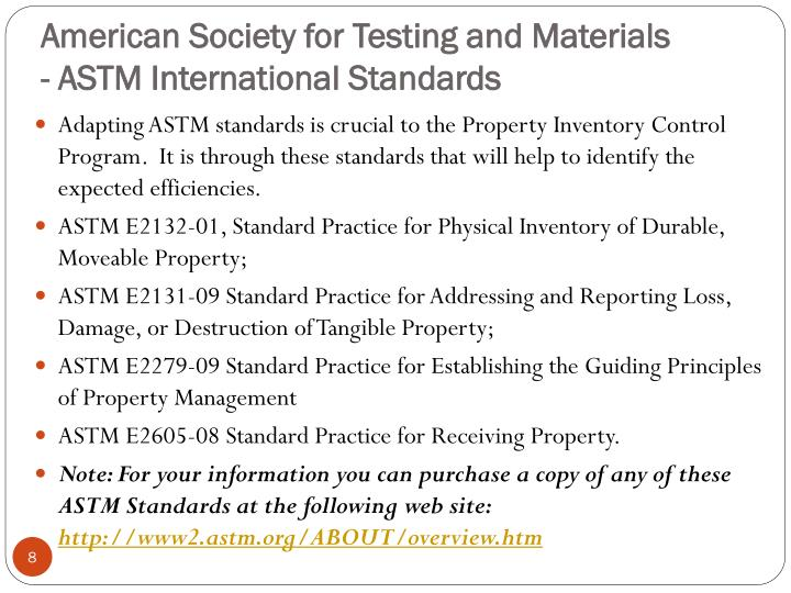 American Society for Testing and Materials