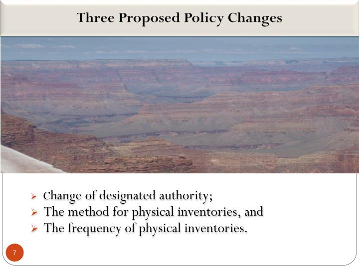Three Proposed Policy Changes