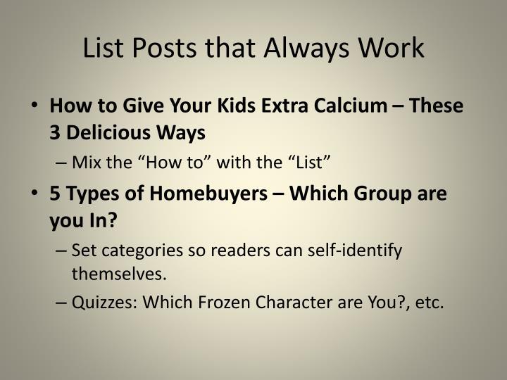 List Posts that Always Work