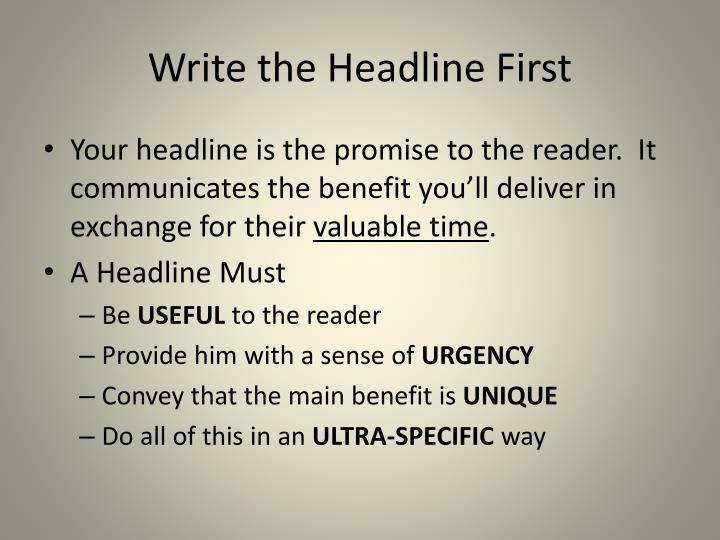 Write the Headline First