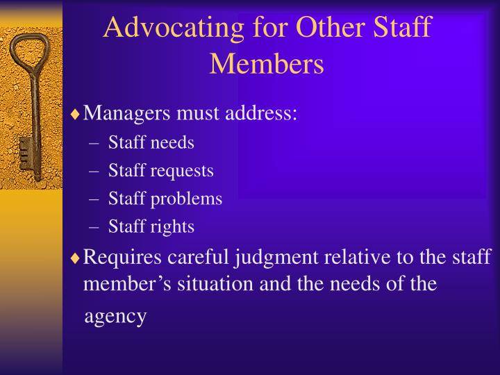 Advocating for Other Staff