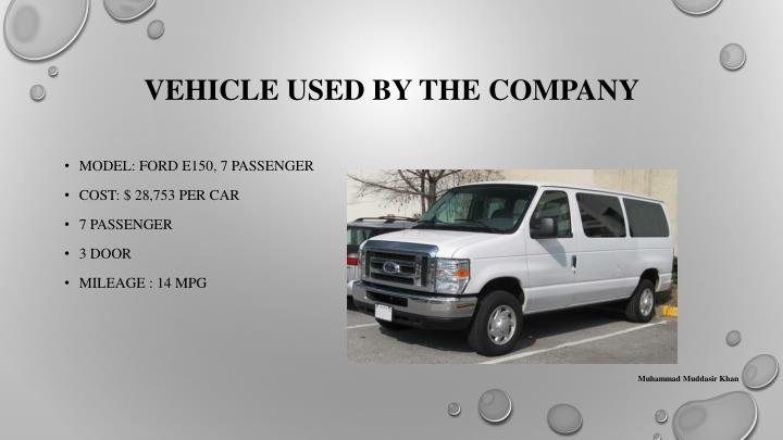 Vehicle used by the company