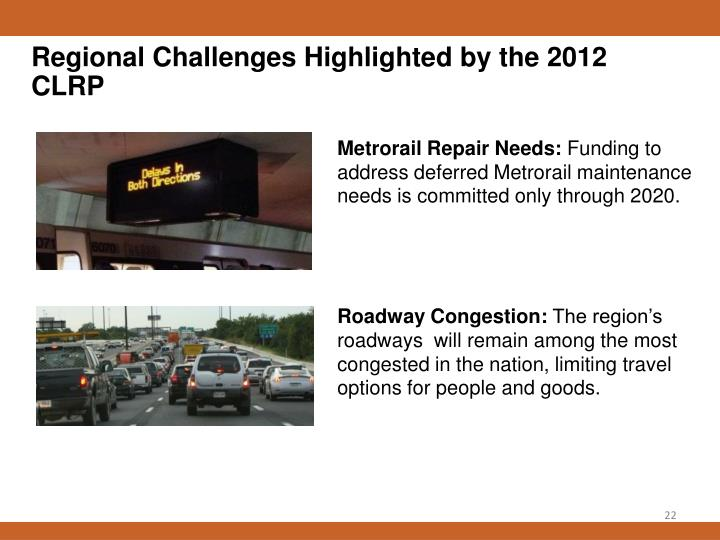 Regional Challenges Highlighted by the 2012 CLRP