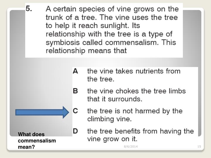 What does commensalism mean?