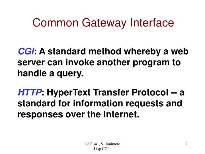 Common Gateway Interface