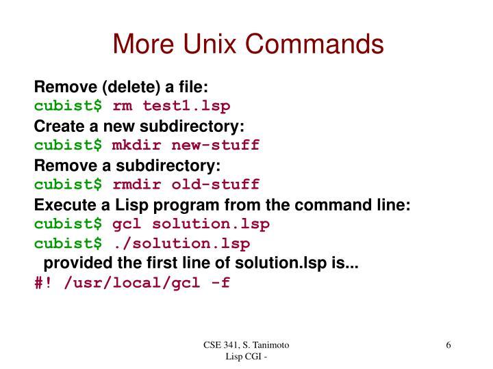 More Unix Commands