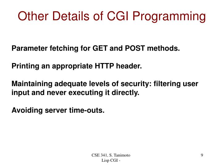 Other Details of CGI Programming