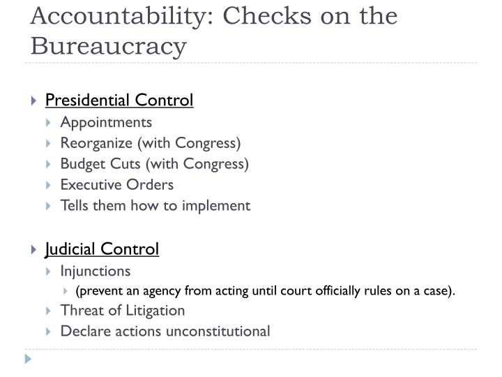Accountability: Checks on the Bureaucracy