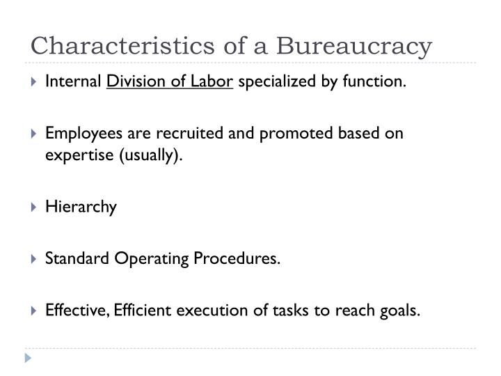 Characteristics of a bureaucracy