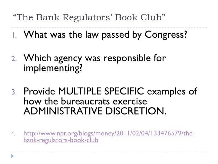 """The Bank Regulators' Book Club"""