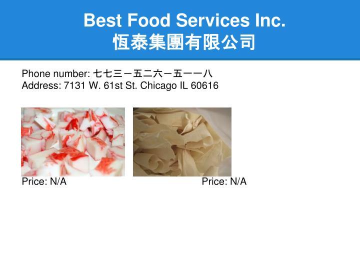Best Food Services Inc.