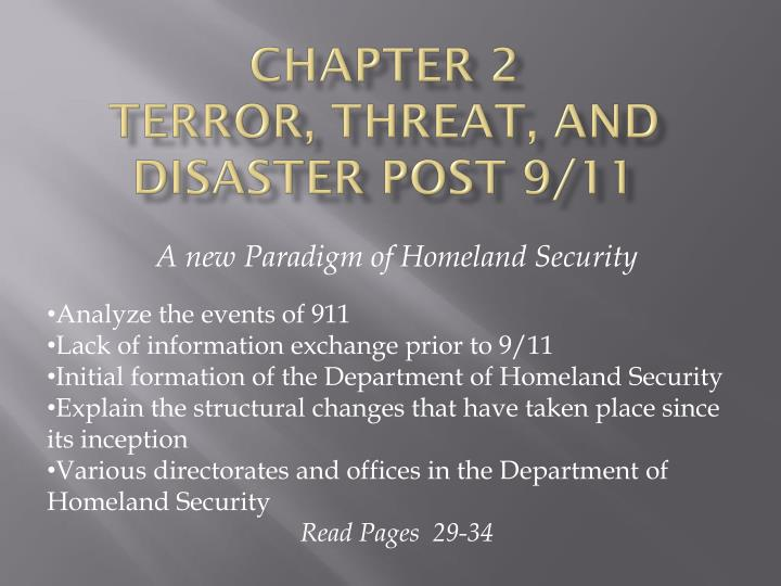 Chapter 2 terror threat and disaster post 9 11
