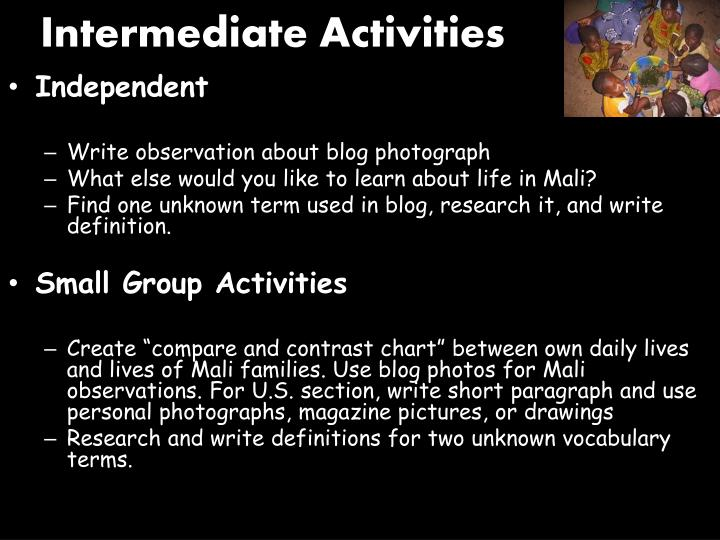 Intermediate Activities