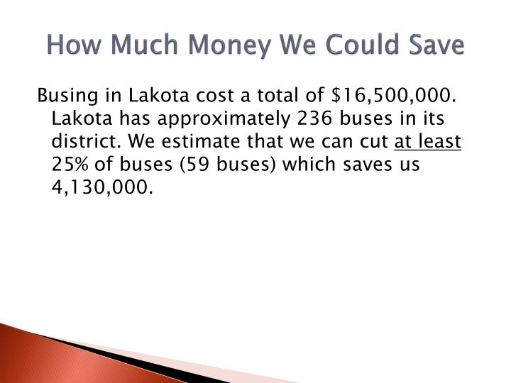 How Much Money We Could Save