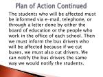 plan of action continued