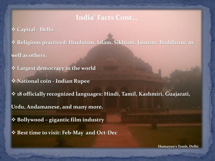 India' Facts Cont…
