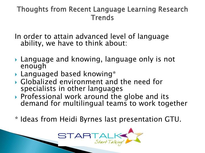 Thoughts from recent language learning research trends