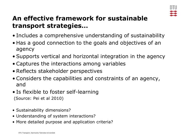 An effective framework for sustainable transport strategies…