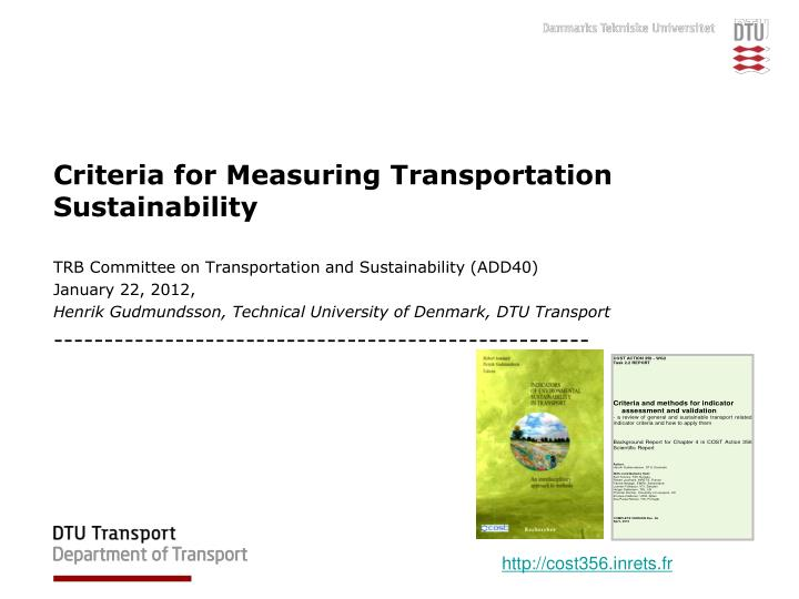 Criteria for measuring transportation sustainability