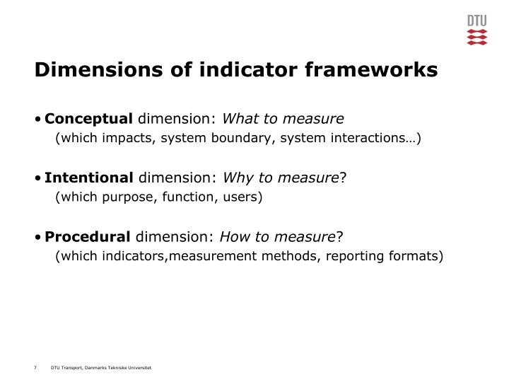Dimensions of indicator frameworks
