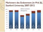 marktwert des endowment in mrd stanford university 2007 2012
