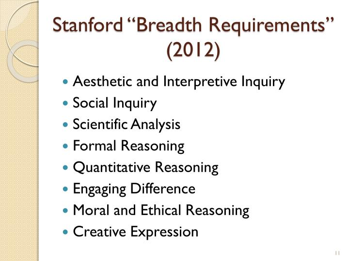 "Stanford ""Breadth Requirements"" (2012)"