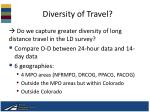 diversity of travel