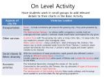 on level activity