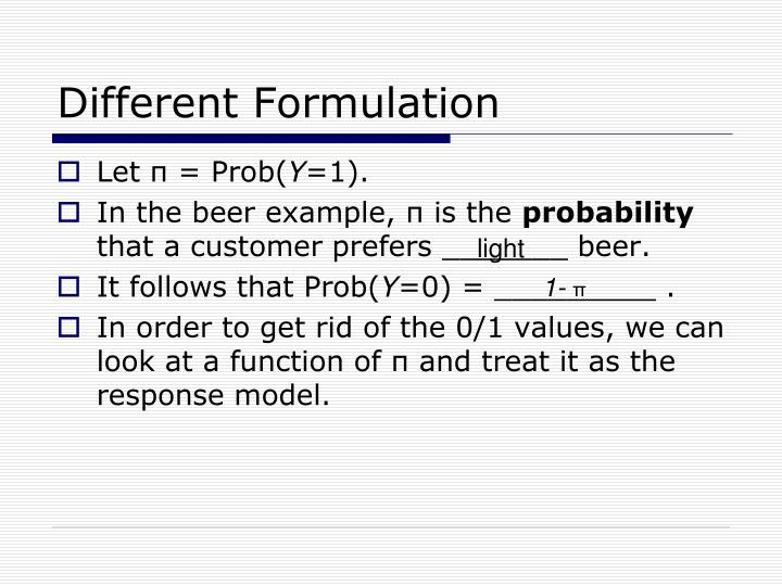 Different Formulation