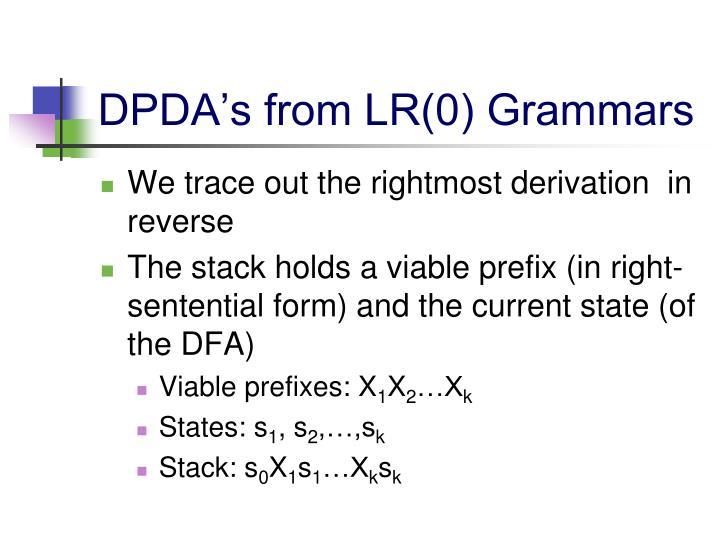 DPDA's from LR(0) Grammars
