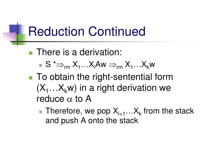 Reduction Continued