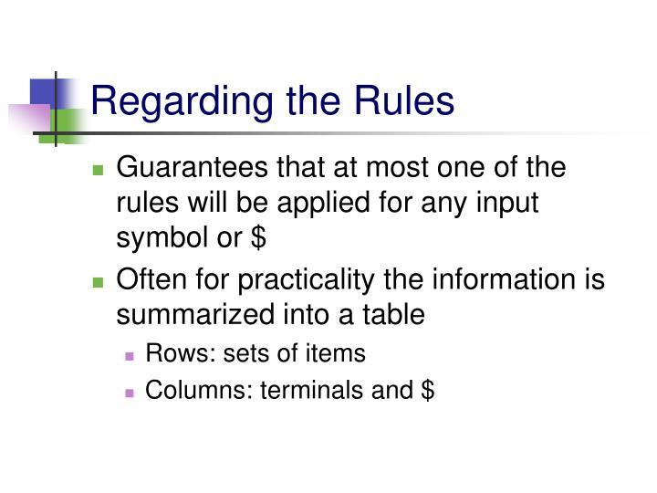 Regarding the Rules