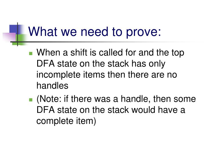 What we need to prove: