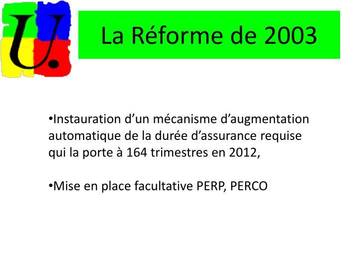 La Réforme de 2003