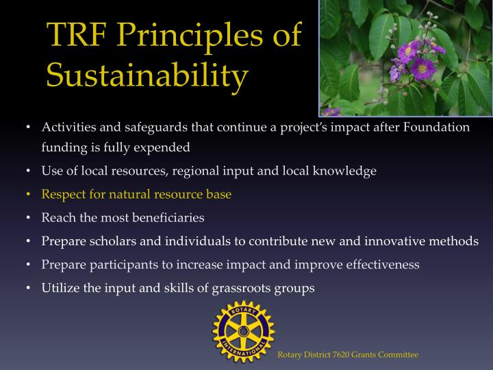 TRF Principles of Sustainability