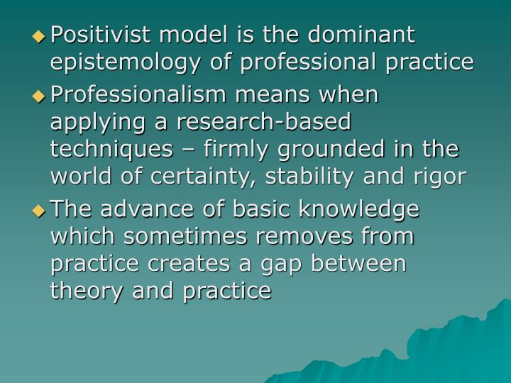 Positivist model is the dominant epistemology of professional practice
