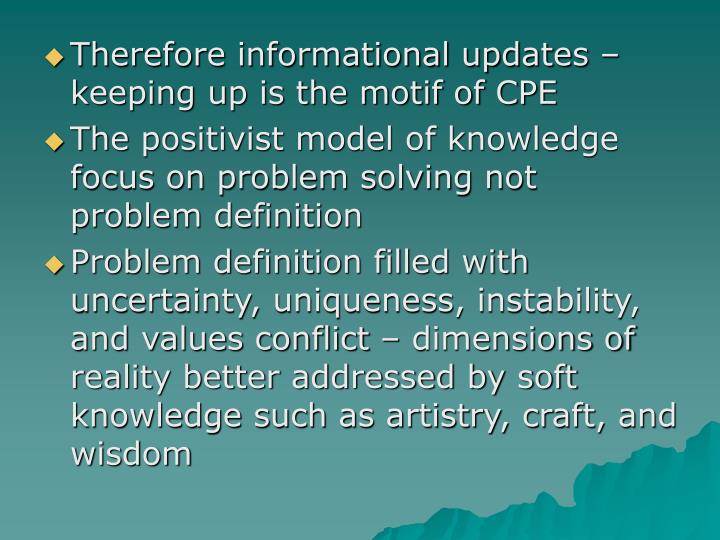 Therefore informational updates – keeping up is the motif of CPE