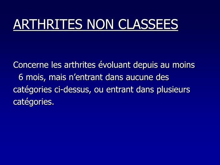 ARTHRITES NON CLASSEES