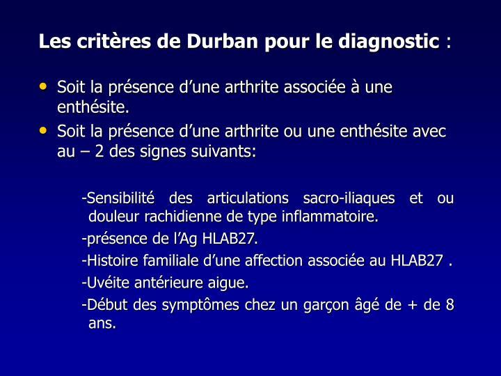 Les critères de Durban pour le diagnostic