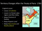 territory changes after the treaty of paris 17831