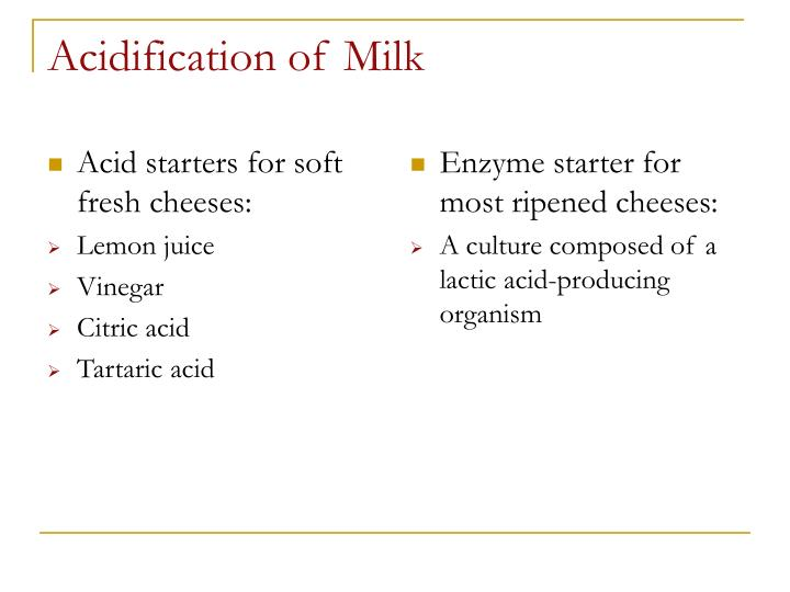 Acid starters for soft fresh cheeses: