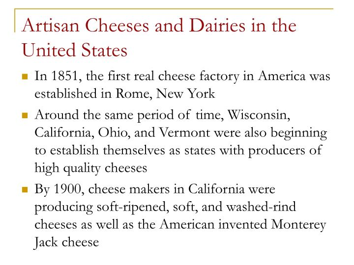 Artisan Cheeses and Dairies in the United States