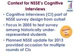 context for nsse s cognitive interviews
