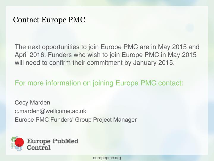 Contact Europe PMC