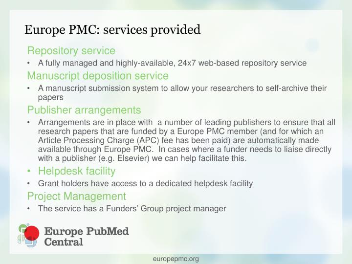 Europe PMC: services provided