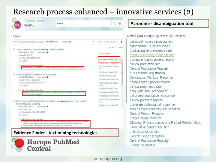 Research process enhanced – innovative services (2)
